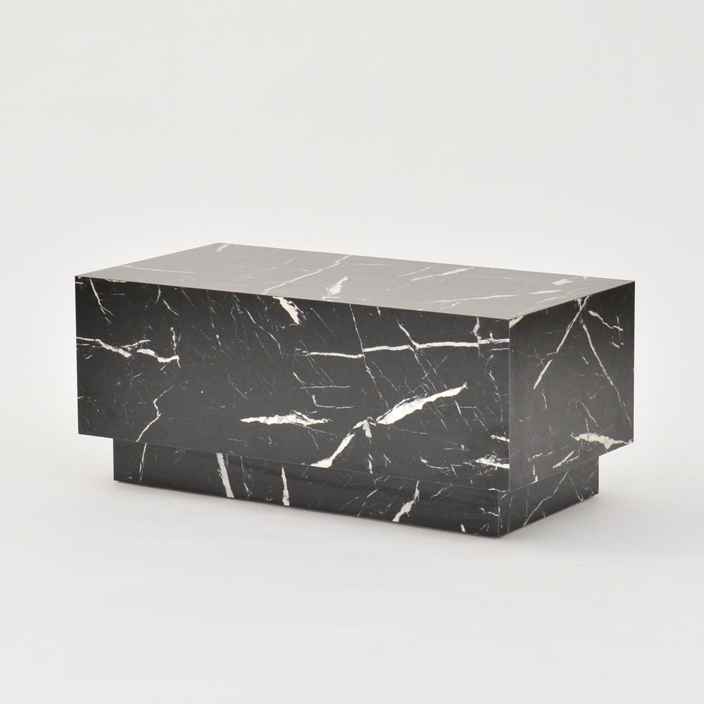 plinth table faux black marble
