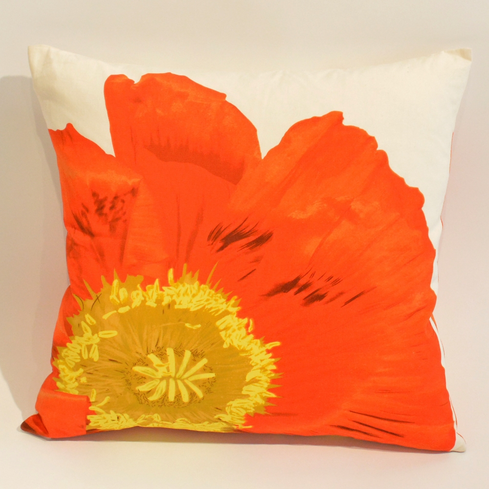 orange poppy pillow