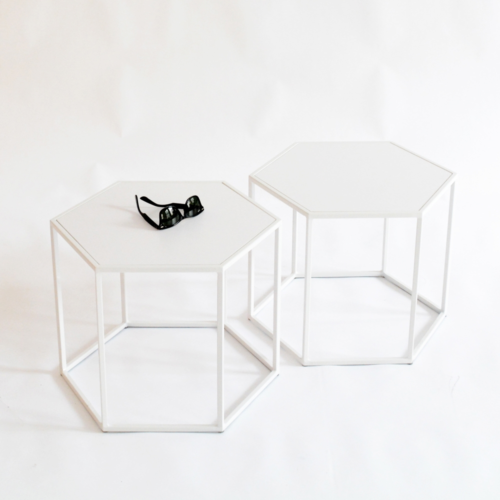 hex side table