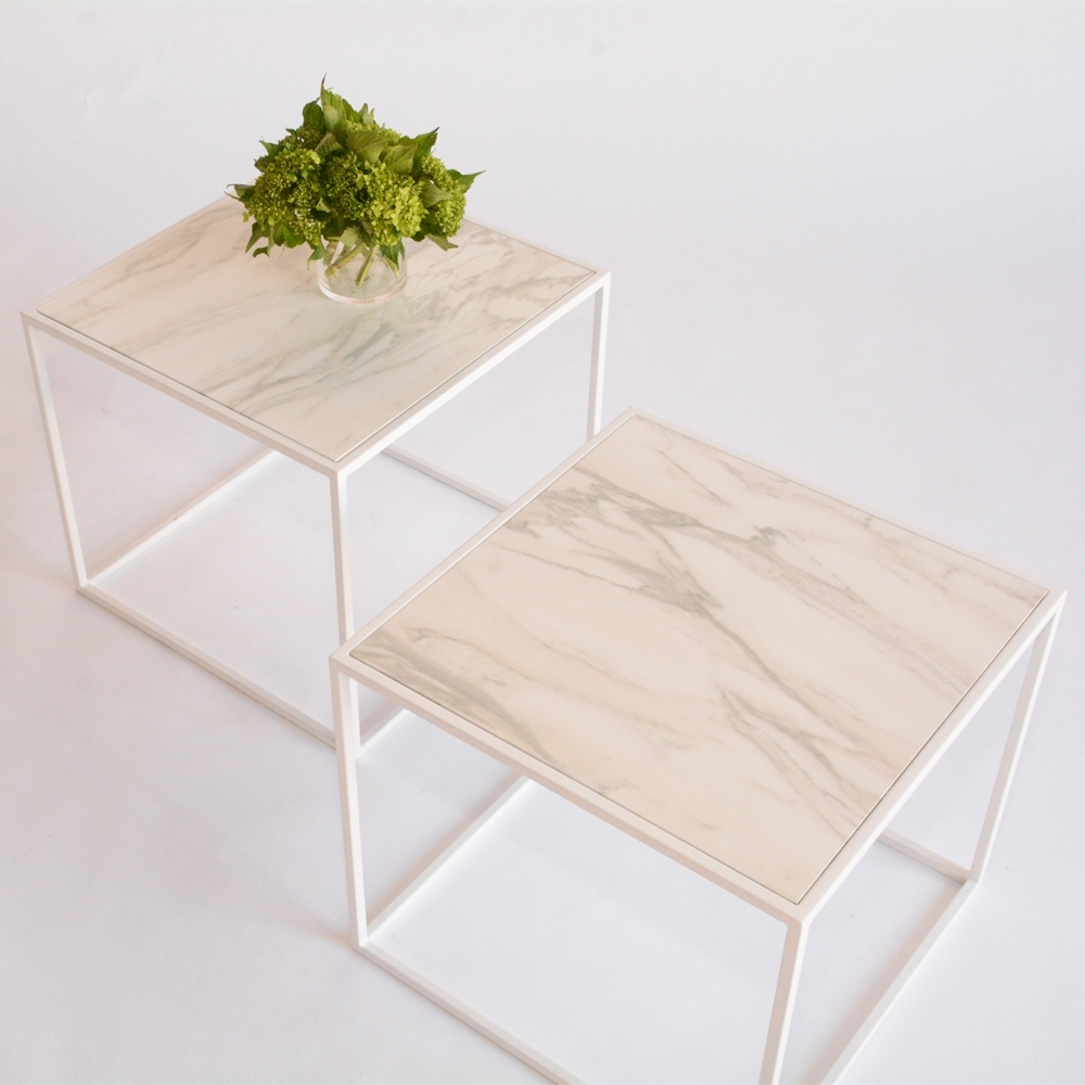 calvin side table faux marble white