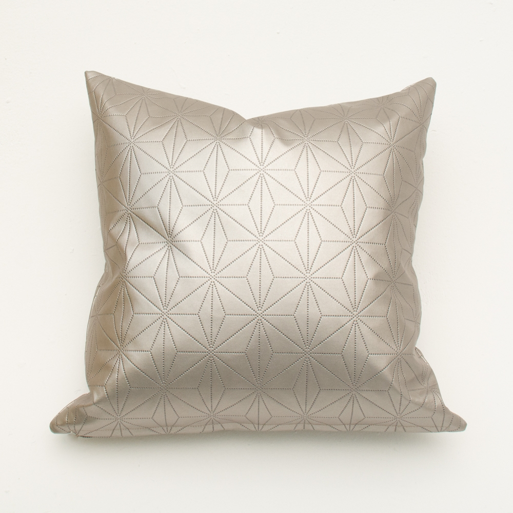 etched silver pillow
