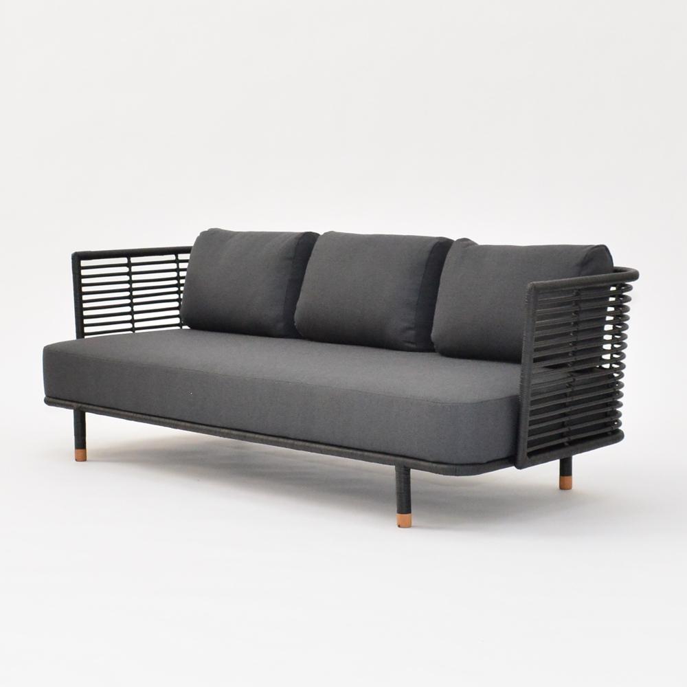 cane sofa black