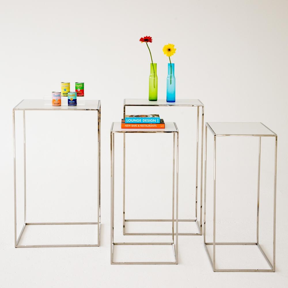 edge pedestals chrome w/ white