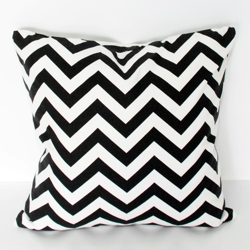 chevron black & white pillow