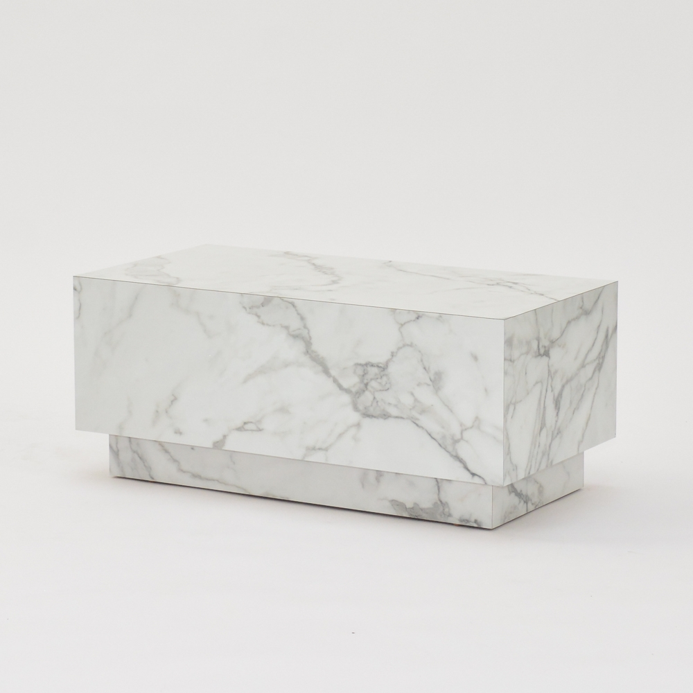 plinth table faux white marble