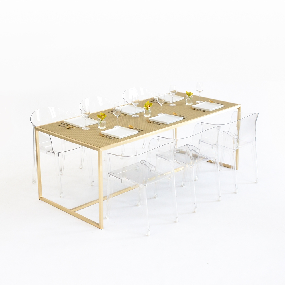 maxwell dining table - chilewich new gold