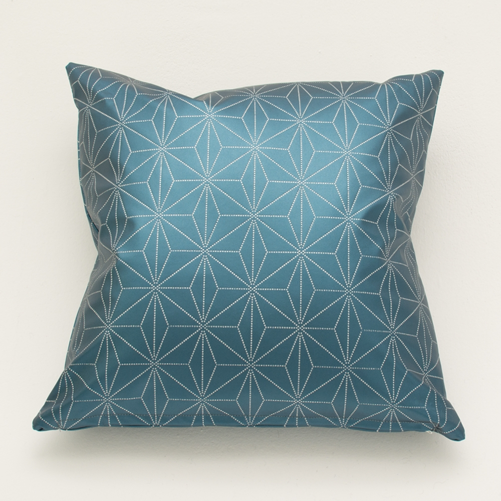 etched blue pillow