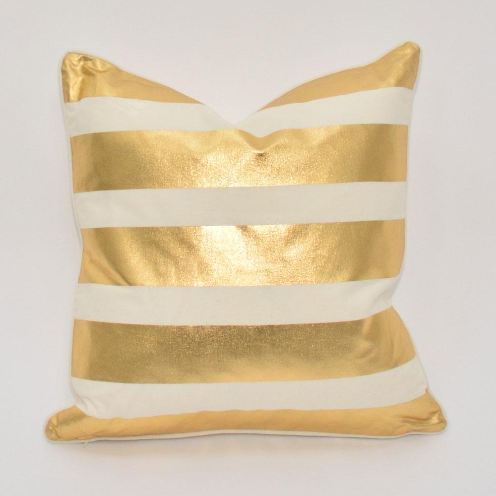 gold stripe pillow