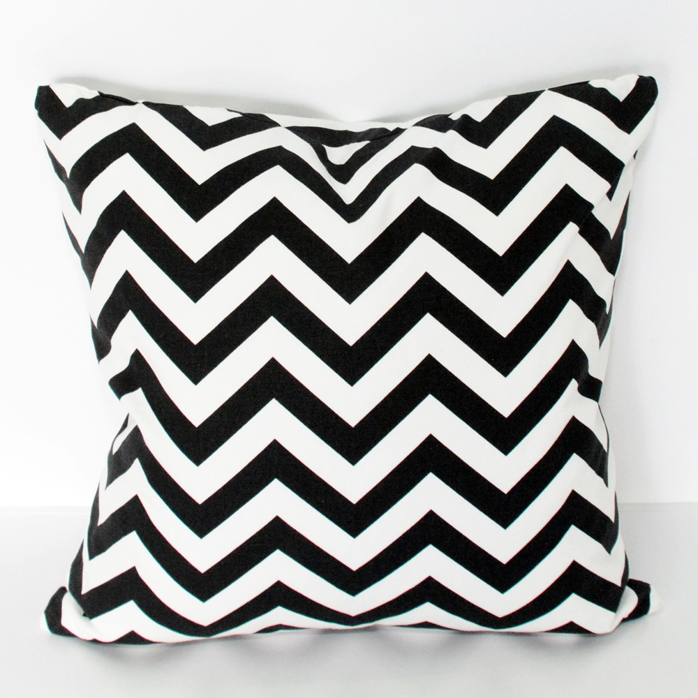 chevron black & white pillow