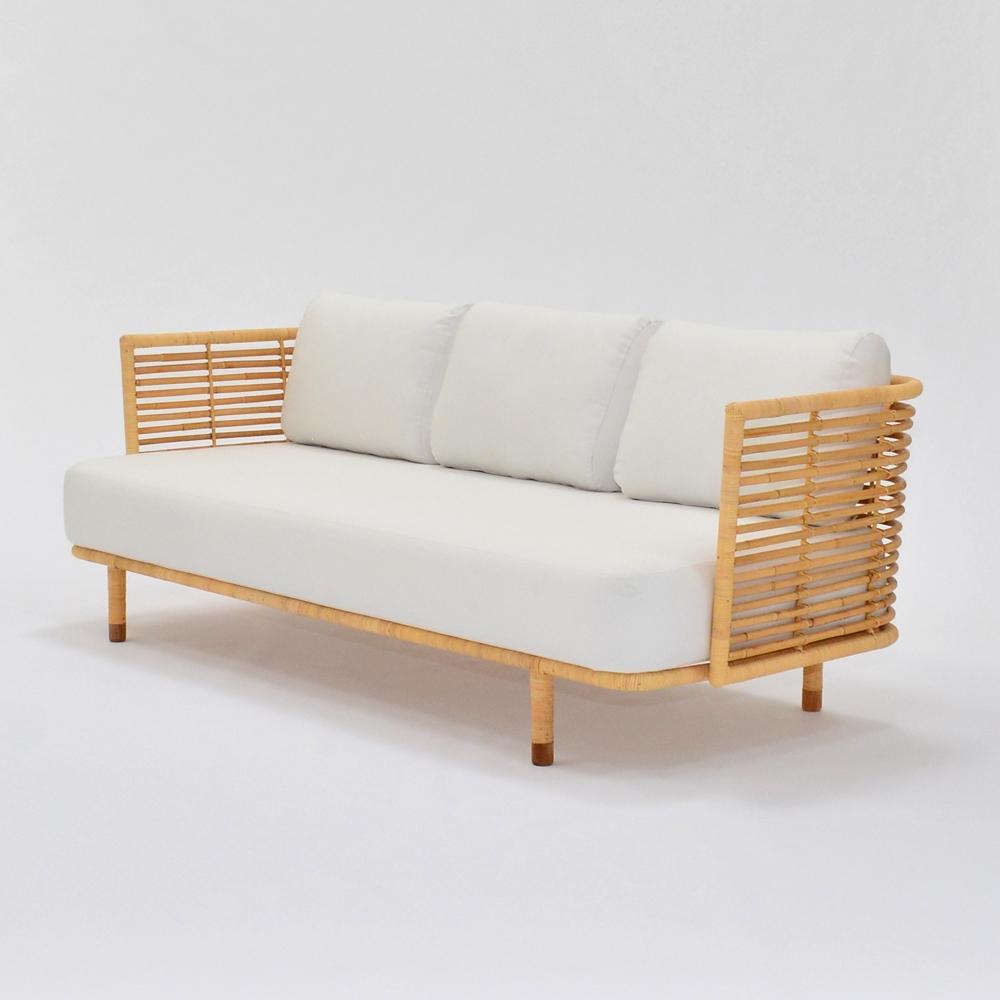 cane sofa white
