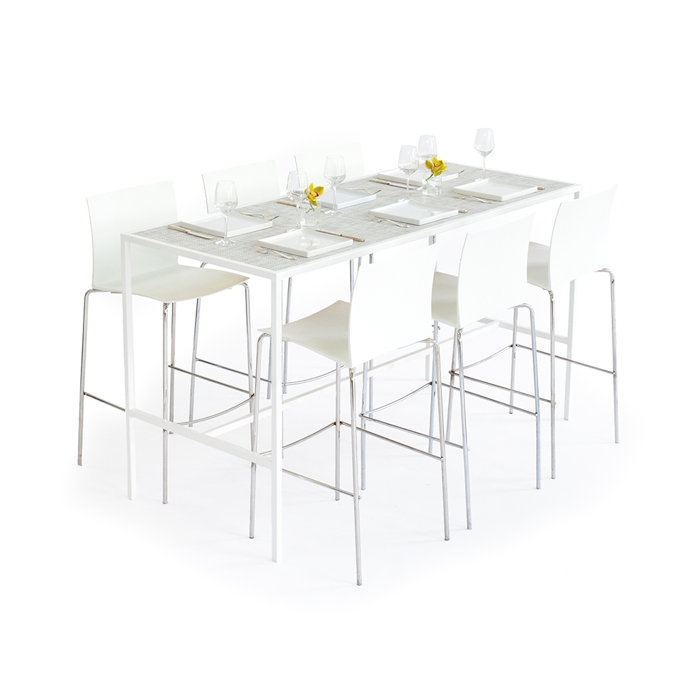 communal table - chilewich white/silver